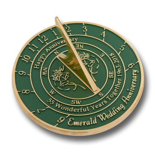 Wedding Anniversary Sundial Gift | Unique Present Idea For 1st, 10, 15, 20, 25, 30, 35, 40, 45, 50, 55 Or 60 Yr Anniversary For Him, For Her Or For A Couple. (55th - Emerald Version)