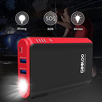 Quick Charge In & Out, Gooloo 450a Peak Car Jump Starter (Up To 4.5l Gas Or 2.5l Diesel Engine) Power Pack 12v Auto Battery Booster Portable Phone Charger, Built-in Led Light, Blackred Blackred 3