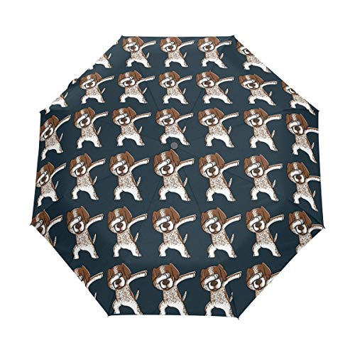 Compact Travel Umbrella Dabbing German Shorthaired Pointer Funny Windproof Automati Umbrella ()