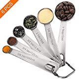 Measuring Spoons, Premium Heavy Duty 18/8 Stainless Steel Measuring Spoons Cups Set, Small Tablespoon with Metric and US Measurements, Set of 6 for Gift Measuring Dry and Liquid Ingredients