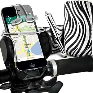 Huawei Ascend G615 de Protección Premium Zebra PU tracción Piel Tab Slip In Pouch Pocket Cordón piel cubierta de la caja de liberación rápida, de calidad premium en auriculares de botón estéreo de manos libres de auriculares Auriculares con micrófono Mic y botón de encendido y apagado, Grande Sylus pluma y universal montaje de la bicicleta de la bici Soporte ajustable de soporte Base del manillar Soporte rotación de 360 ??grados Blanco y Negro por Spyrox