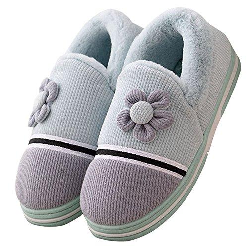 Winter Cozy Womens Warm Flower Fur Home Slippers Anti Slip Velvet Plush Indoors Couples House Slippers Blue WIYaf