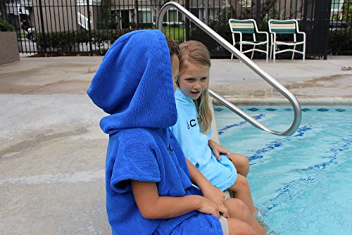 COR Childrens Poncho Towel Robe Light and Dark Blue for Ages 3-10 (Light Blue) by COR Board Racks (Image #4)