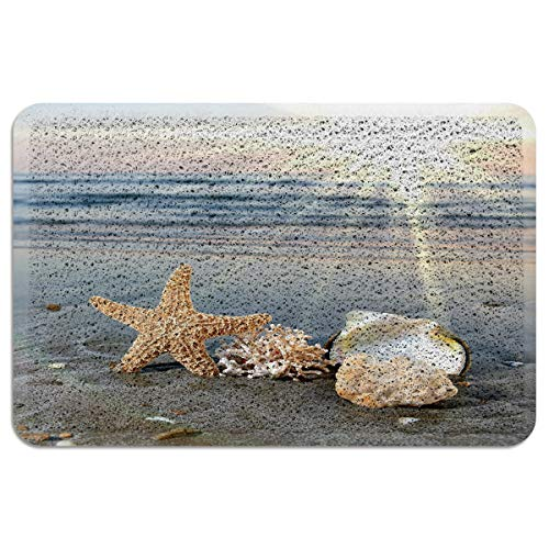 Welcome Doormats for Entrance Way Outdoor/Indoor Floor Decor Sea Starfish Shells Coastal Scents Patios Rug Entry Door Mat Carpets Non Slip Kitchen Rugs 24x35inch
