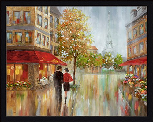 France Street Scene (Romantic Promenade II Nan Paris France Street Scene Framed Print Wall Art Decor Picture)