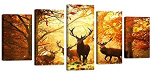 Ardemy Canvas Wall Art Painting Reindeer in Autumn Forest Rustic Landscape 5 Panels Large Size, Framed Gallery Wrapped Wildlife Animals Giclee Prints for Living Room Bedroom Office Home Decor