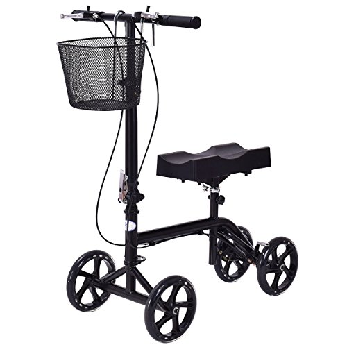 Leg Scooter (Goplus® Heavy Duty Knee Walker Steerable Knee Scooter Foldable Medical Knee Cycle Leg Walker Crutch W/ Deluxe Brake System & Basket in Black)