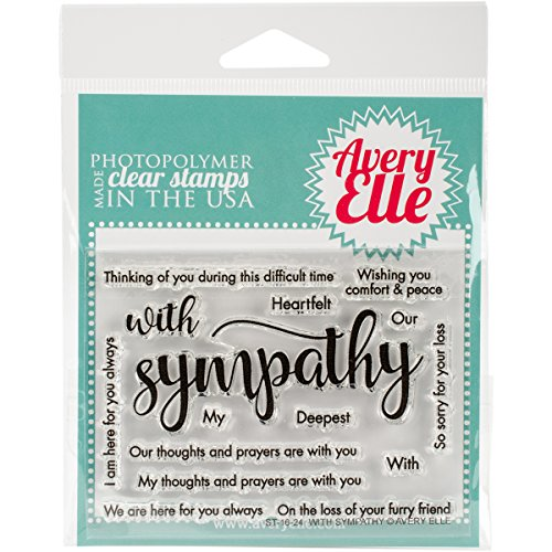 Avery Elle Clear Stamp Set 4-inch x 3-inch With Sympathy, Acrylic,