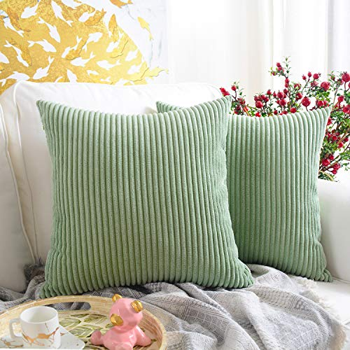 - MERNETTE Pack of 2, Corduroy Soft Decorative Square Throw Pillow Cover Cushion Covers Pillowcase, Home Decor Decorations for Sofa Couch Bed Chair 18x18 Inch/45x45 cm (Striped Bean Green)