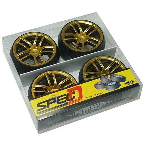 Yeah Racing Spec D CX10 Wheel Offset +3 Gold w/Tire 4pcs For 1/10 Drift #WL-0090