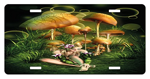 Mushroom License Plate by Lunarable, Fairy Woman in Enchanted Forest Elf Pixie Fungus Growth Flowers Grass, High Gloss Aluminum Novelty Plate, 5.88 L X 11.88 W Inches, Green Pale Brown (Mushroom Elf)