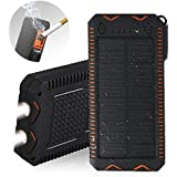 [Upgraded] Solar Charger,15000mAh Solar Battery Charger,Portable Solar Power Bank Waterproof/Dustproof/Shockproof Dual USB Port,Phone Charger for Emergency Outdoor Camping Travel Black and Orange