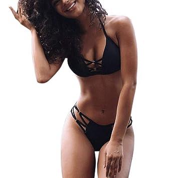 8b7a7264a785d Amazon.com  Women Sexy Lace Up Push-Up Padded Bra Beach Bikini Set Swimsuit  Sport Swimwear by Kanhan (S