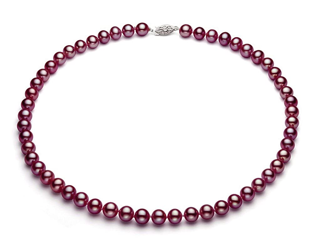 Sterling Silver Cranberry Freshwater Cultured Pearl Necklace AA+ Quality (9.5-10.5mm) Premium Pearl 16 Inc NCA-19803-FW-100-SS-AA-16