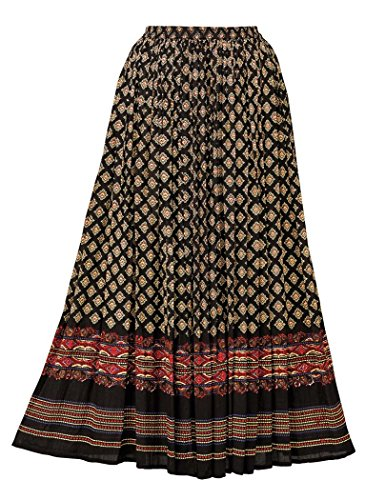 - AmeriMark Border Print Crinkle Skirt Plus Size