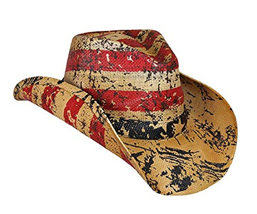 Vamuss Men's Vintage USA American Flag Cowboy Hat w/Western Shape-It Brim (Liberty Stars and Stripes)]()