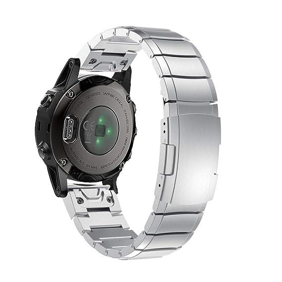 MYQyiyi Correa de Acero inoxidable de Reloj para Garmin Fenix 5S Plus