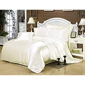 Image of 600TC 1 Piece 500GSM Fiber Fill Comforter Emperor/Wyoming King Size Ivory Solid 100% Silky Satin - by AP Beddings Home and Kitchen