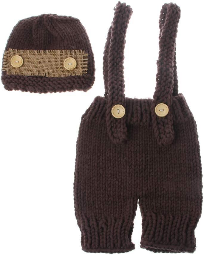 PENG Trajes de fotografía Infantil Accesorios de fotografía para recién Nacidos Sombrero de bebé Traje de Ganchillo para sesión de Fotos Retro Baby Photo Props