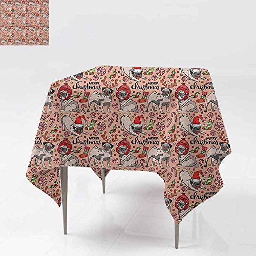 (Washable Tablecloth,Pug,Merry Christmas Dogs Celebrating The Holiday Comedy Image Antlers Hats Candy Cones,for Banquet Decoration Dining Table Cover,70x70 Inch Rose Red Green)