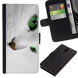 Samsung Galaxy Note 3 III - Dibujo PU billetera de cuero Funda Case Caso de la piel de la bolsa protectora Para (White Cat With Green Eyes)