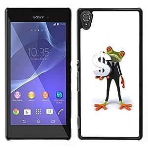 LECELL--Funda protectora / Cubierta / Piel For Sony Xperia T3 -- Hombre de negocios de la rana blanca Dólar minimalista --