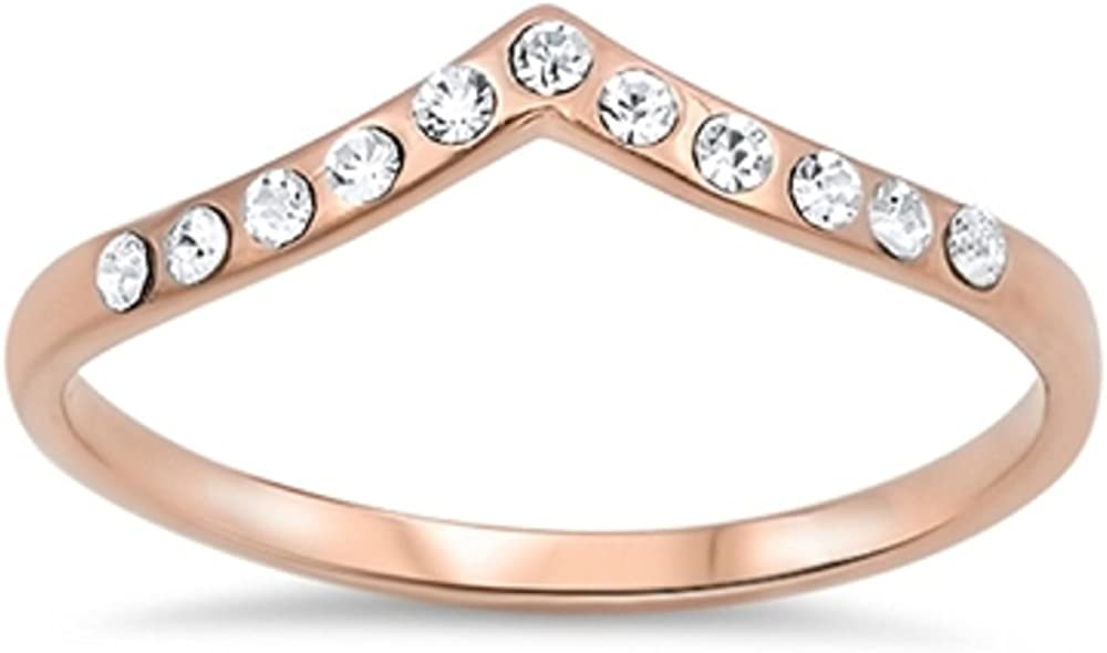 CloseoutWarehouse Cubic Zirconia Stackable Tiara Ring Rose Gold-Tone Plated Sterling Silver Size 11