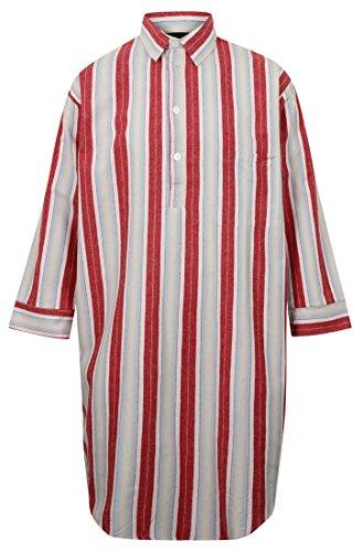 Men's Brushed Cotton Flannel Nightshirt, Red Stripe (Large)