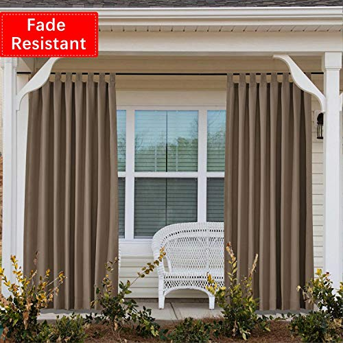 Macochico Fade Resistant Outdoor Curtains Velcro Tab Top Waterproof Drape Panels for Patio Covered Patio Gazebo Dock Beach Home 100 Inch by 84 Inch, Chocolate (1 Panel) 84' Pole Top Drapery