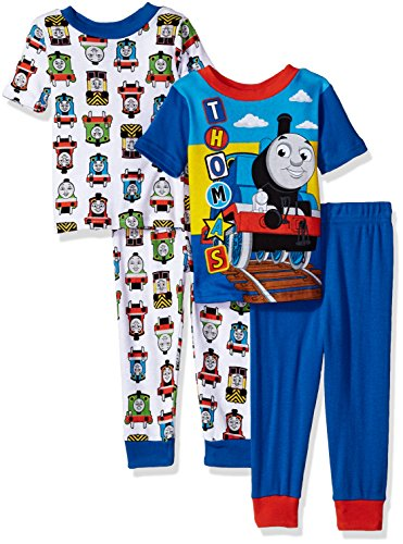 (Thomas & Friends Baby' Thomas The Train Boys 4-Piece Cotton Pajama Set, Choo Blue, 2T)