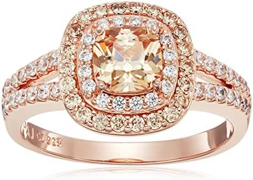 Rose Gold Plated Sterling Silver Cushion Cut Champaign Cubic Zirconia 6mm Double Halo Ring