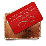 Personalized Wallet Insert for men, Red Metal Wallet Card Insert, Infinite Love Symbol - I'll be Always be with You, Anniversary gift for men, Grooms Gift, Deployment Gifts for husband