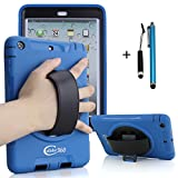 Apple iPad Mini 1/2/3 Rugged Case with 360 Degrees Swivel Kickstand and Hand Strap(Blue)