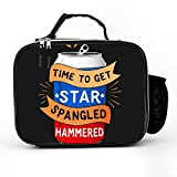 Longshun Lunch Bag with Time To Get Star Spangled Hammered 4th of July Lunch Bag Insulated|Durable Thermal Lunch Cooler Pack with Strap for Boys Men Women Girls