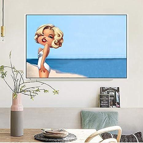 ganlanshu Pintura sin Marco Retrato de Dibujos Animados Lienzo Pintura Sala de Estar Mural decoración Moderna Cartel nórdicoZGQ5428 40X60cm