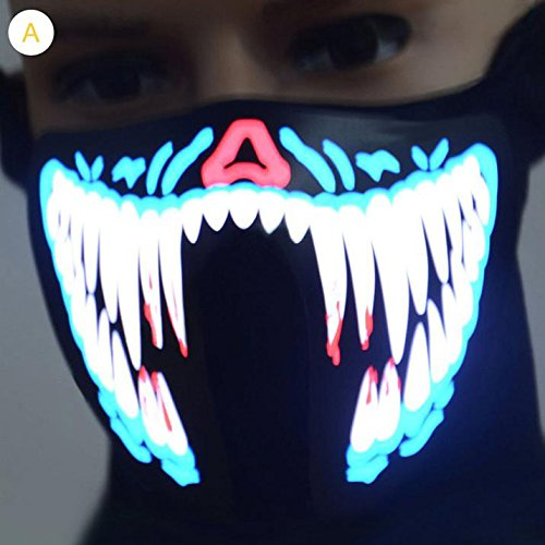Dulcii LED Face Mask, Light up Outdoor Costume LED Luminous Flashing Light Face Mask Winter Warm Wind-proof Cycling Mask Ski Sports Mask - Horrible Fangs - Carnival Costume Ideas For Groups
