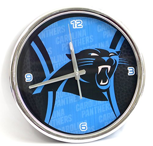(Carolina Panthers Large Wall Clock. Ideal for Family Room, Man cave or Office Decor. Wonderful Gift for dad on Father's Day.)