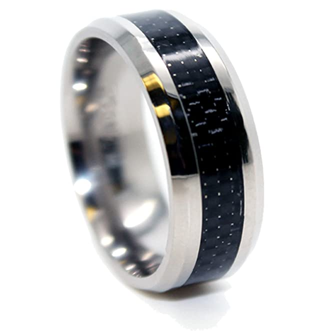 Amazoncom 8mm Titanium Black Carbon Fiber Inlay Band Wedding