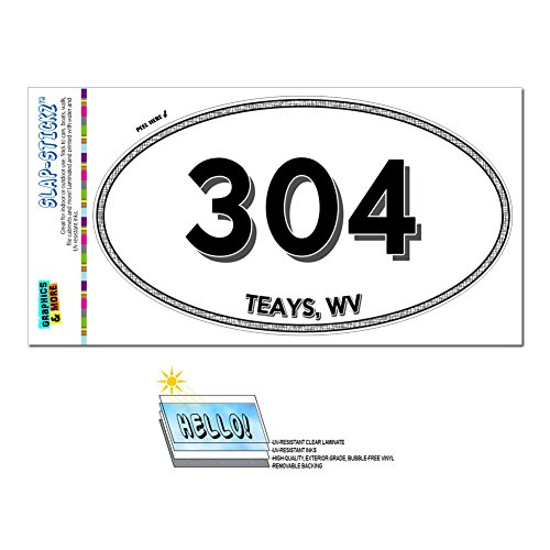Graphics And More Area Code Oval Window Sticker 304 West Virginia Wv Summersville   West Liberty   Teays