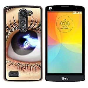 "Be-Star Único Patrón Plástico Duro Fundas Cover Cubre Hard Case Cover Para LG L Prime / L Prime Dual Chip D337 ( Ojos: Azul Negro Lashes Espacio Close Up"" )"