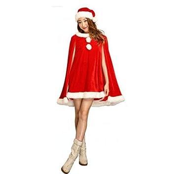 5a700587b2890 Yunfeng Costume de père noël pour Femme Robe de Noël Vert Femme Adulte Noël  Robe DS