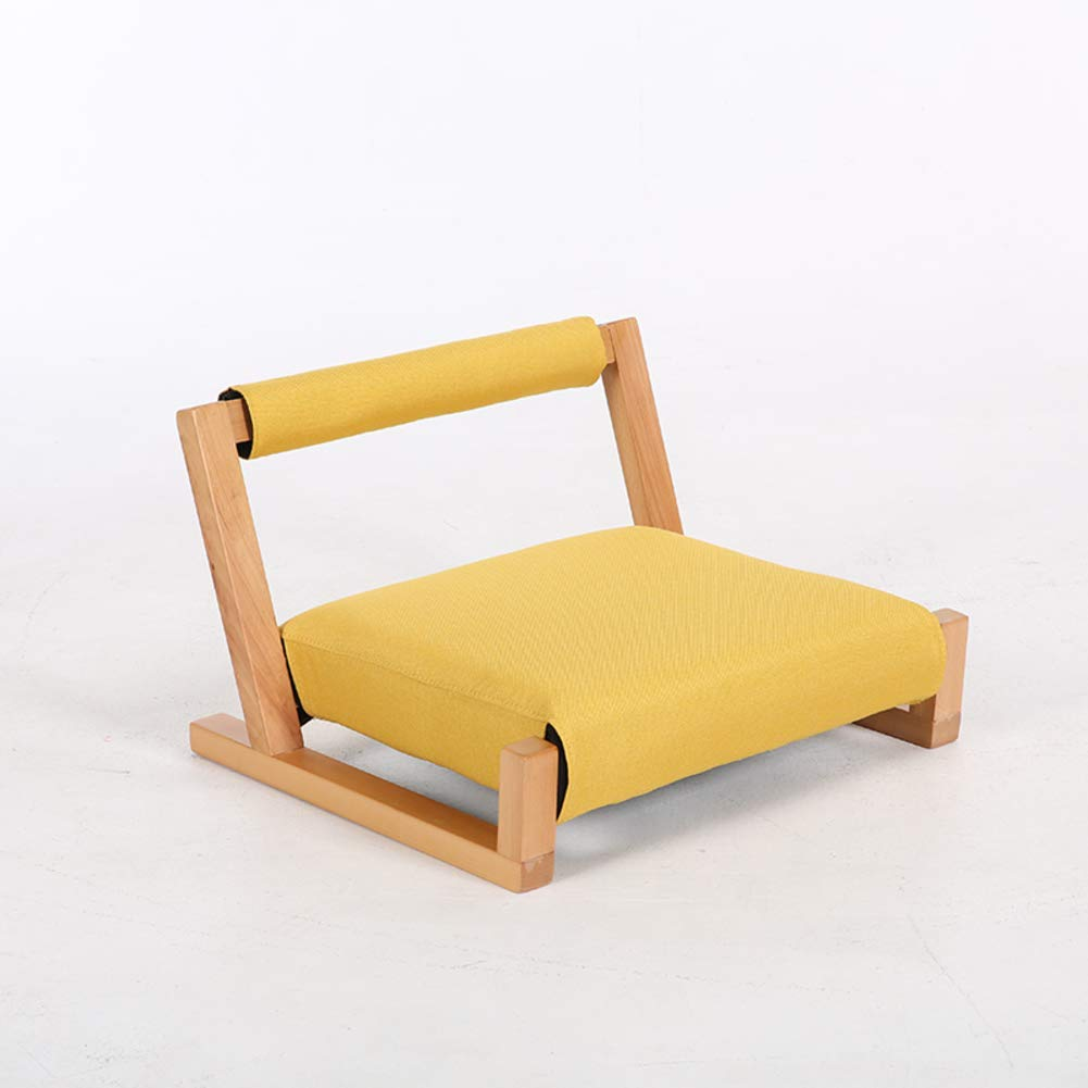 D Classic Solid Wood Tatami Chair, Japanese Legless Chairs Back Support Washable Cushion Room Stool Bay Window-e