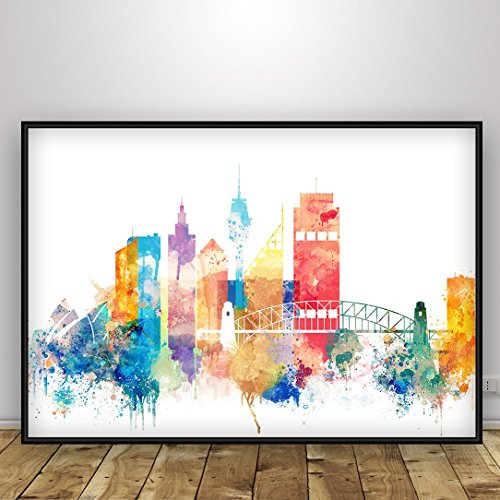 sydney-watercolor-poster-australia-print-home-interior-cabinet-wall-decor-of-new-south-wales-capital