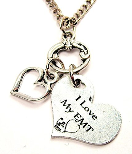 ChubbyChicoCharms I Love My Emt Heart Accents Multi Charm Cluster 18