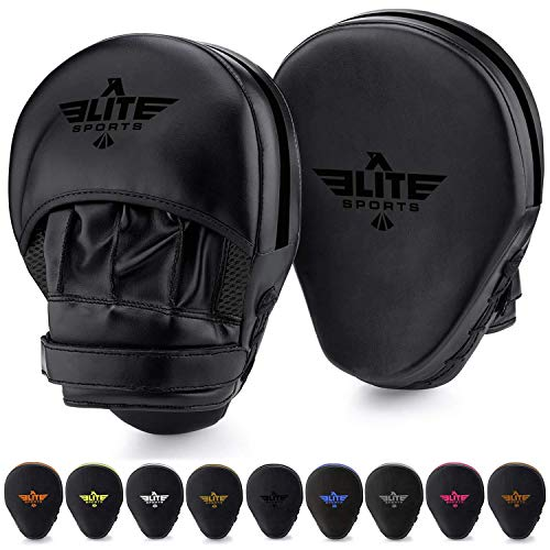 Elite Sports Boxing Mitts for Muay Thai MMA Sparring Training Punching Focus Punch Target Mitts and Pads (Black)