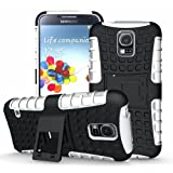 [Diablo] JKase Samsung Galaxy S5 Case Protective [Ultra Fit] Tough Rugged Dual Layer Protection Case Cover with Build in Stand for Galaxy S5 / Galaxy SV / Galaxy S V (2014) - Retail Packaging (White)