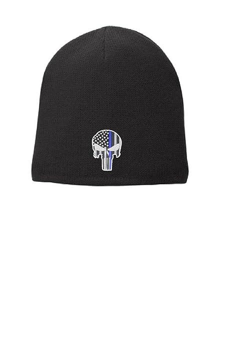 NEW American Thin Blue Line Flag Black Beanie Hat Free Shipping!!