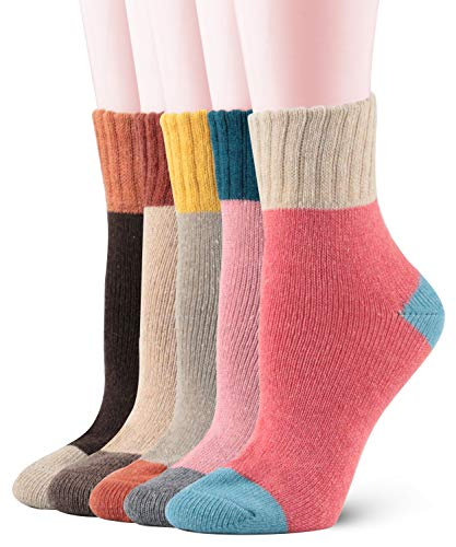 (Womens Vintage Soft Warm Winter Crew Socks Funky Cozy Crew Wool Thick Comfort Socks 5-Pack (One Size, C-patchwork Color 5 Packs) )