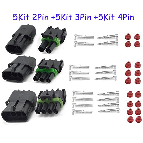 (HIFROM 5 Kit (2+3+4 Pin Way) Waterproof Electrical Connector 1.5mm Series Terminals Heat Shrink Quick Locking Wire Harness Sockets 20-14 AWG)