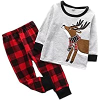 Little Sky Kids Pajamas Set Cotton, Girls Boys PJS Set Long Sleeve T-Shirt with Pants Set